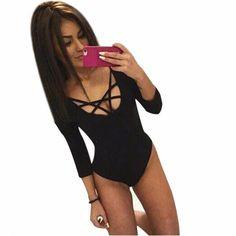 580ee166b75 Hot Sale Sexy Bodysuit Women Plunge V Neckline Up Tie Front Stretch Playsuit  Leotard Jumpsuit Overalls Enteritos Mujer Wear D37-in Bodysuits from Women s  ...