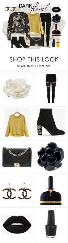 """""""Dark Florals"""" by loewenangel ❤ liked on Polyvore featuring Allstate Floral, River Island, Chanel, Tom Ford, OPI, Yves Saint Laurent, yellow, floral, black and florals"""