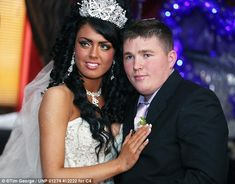 The happy couple: Danielle and her new husband, Brendan, at their ultra glittery wedding