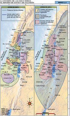 A conquista de Canaã e a Divisão das doze tribos de Israel - Mapas Bíblicos