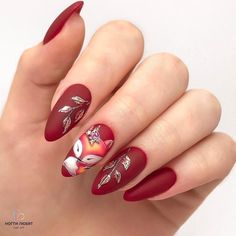30 Pretty and Creative Fall Nail Designs Matte red nails with a cute little fo Pretty Nail Designs, Short Nail Designs, Fall Nail Designs, Acrylic Nail Designs, Fall Nail Art, Autumn Nails, Coffin Nails Matte, Acrylic Nails, Trendy Nails
