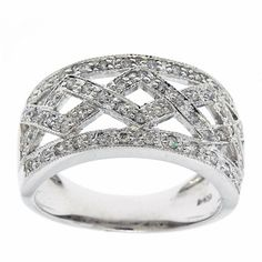 0.50 Cttw G SI Round Brilliant Cut Diamonds Cocktail Ring in 14k White Gold by GetDiamondsDirect on Etsy