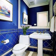 a bunch of beautiful blue bathrooms | dark blue bathrooms, canvas