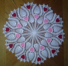 Crochet Pineapple Heart Doily