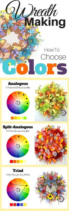 Wreath Making - How to choose Colors for Wreaths! I get asked all the time how to pick the colors, so let me show you where I get my inspiration and how to pick using a color wheel. How to choose colors for crafts. Choosing craft colors.