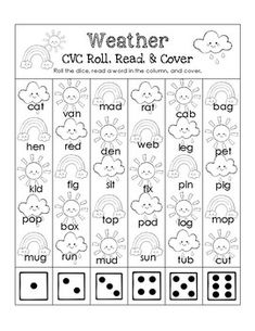 This is a fun Weather themed CVC worksheet. Students roll a die, read a word, and cover/color the picture.