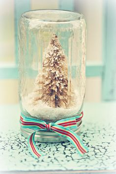 Mason jar, upside down christmas tree or anything small and christmasy,super glue or hot glue gun to lid. You can find things like that for little train set things. Til to side after it dries compleatly,add powder fake snow,put lid back on,tilt right side up and shake gently to move snow around until snow is spread it how ever you want!!