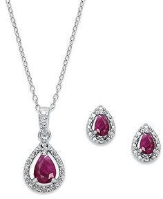 Victoria Townsend Sterling Silver Jewelry Set, Ruby (1-1/3 ct. t.w.) and Diamond Accent Pendant and Earrings Set