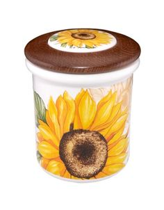 sun flowers kitchen decorations | sunflower ceramic and wood jar $ 43 00 enhance your kitchen decor with ...
