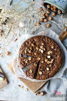 Best brownie ever! With crunchy hazelnut praline. Food photography by Candy Company