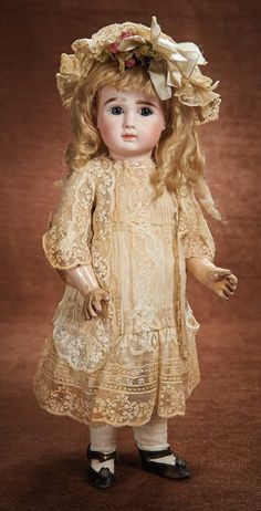 Pretty French Bisque Bebe, Series A, by Jules Steiner in Original Costume 3000/4200
