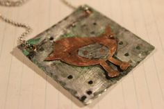 Necklace Copper Bird Hammered Steel Copper by SalvagedJewelry, $40.00