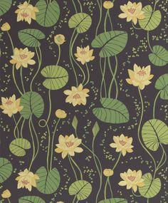 Lummetapetti huokuu retrohenkeä. - Groovy and retro wallpaper with waterlily print.