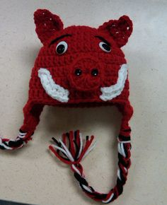 Arkansas Razorback Crochet hat by BeeSweetBoutique12 on Etsy