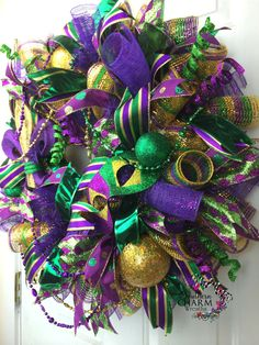 Deco Mesh Mardi Gras Wreath For Door or by SouthernCharmWreaths