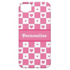 A pretty pink and white square checker pattern Barely There iPhone 5/5S Case with a cute pink heart pattern. Personalize this stylish fashion accessory for teen girls with adorable country style pink gingham checkerboard hearts by adding your name to the custom text area. Original Art copyright of ©Tracie Kaska