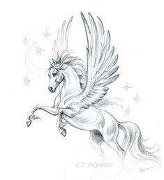 Pencil on paper 2009 Pencil on paper, 2009 diy tattoo images - tattoo images drawings - tattoo images women - tattoo imag Horse Drawings, Animal Drawings, Tattoo Drawings, Art Drawings, Pegasus Tattoo, Winged Horse, Unicorn Tattoos, Arte Sketchbook, Unicorn Art