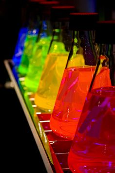 colorful:    Beaker Rainbow (via         Maybe a Bruce banner/ hulk science lab set up with his science kits and beakers