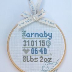 Birth announcement, new baby, cross stitch hoop frame