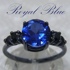 3 DAY SALE! Gothic Engagement Ring | Blue & Black Engagement Ring | 2cts Blue Sapphire Gothic Wedding Ring | Black Silver Steampunk Ring by FineGothicJewelry on Etsy https://www.etsy.com/listing/225458131/3-day-sale-gothic-engagement-ring-blue