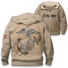 Bradford Exchange Official Site: Shop for Collectibles, Jewelry and Gifts Usmc Emblem, Marine Corps Emblem, Us Marine Corps, Marine Corps Jacket, Marine Corps Uniforms, Usmc Clothing, Once A Marine, Distressed Leather Jacket, Full Zip Hoodie