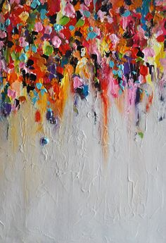 Peinture abstraite sur panneau Original peinture arc-en-ciel