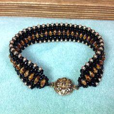 Black and Brown Czech Glass Beaded Bracelet by JewelryCharmers