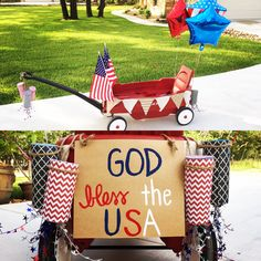 4th of July Parade - decorated wagon - DIY firecrackers, burlap pennant banner, God Bless the USA sign, Flags & balloons