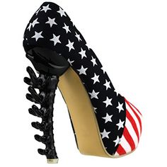 """Show Story Black Dinosaur Bone Rough PeepToe Denim USA National Flag 5"""" Pumps,LF40602BK41,10US,Black ** This is an Amazon Associate's Pin. Details on product can be viewed on Amazon website by clicking the VISIT button."""
