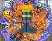 Witches Boots Halloween Wreath, handmade USA, Kathy's Holiday, Ocean City, NJ
