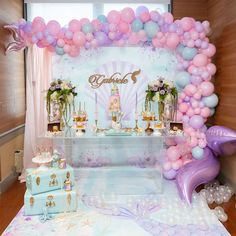 Glamorous Mermaid Birthday Party (With images) Mermaid Party Decorations, Girl Birthday Decorations, Girl Baby Shower Decorations, Mermaid Parties, Mermaid Theme Birthday, Little Mermaid Birthday, 1st Birthday Girls, Mermaid Themed Party, Birthday Party Desserts