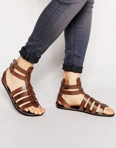 I WANT THESE - Someone get them for me? :) ASOS Gladiator Sandals in Leather