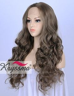 K'ryssma Mixed Ash Brown Lace Front Wigs for Women Natural Looking Long Wavy $55.35