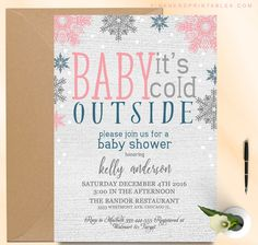 baby shower, invitations, baby its cold outside, cold, winter, snowflake, glitter , baby, shower, gold, pink , neutral baby shower, cheap baby shower,