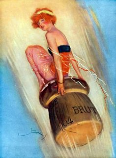 Stock Photo - Grape Shot 1915 English magazine illustration of a lady riding on a popping champagne cork 1904 vintage Champagne Corks, Vintage Champagne, Vintage Wine, Vintage Ads, Vintage Posters, Champagne Images, Champagne Buckets, Champagne Cocktail, Vintage Trends
