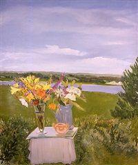 Lizzies Flowers in a Landscape by Jane Freilicher