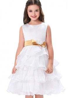 Jewel Zipper Tulle White Sleeveless Bow A-line Knee Length Flower Girl Dress