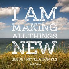 I am making all things new. -Jesus, Revelation 21:5