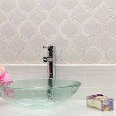 Nabi Arabesque Glacier White Marble And Ceramic Tile | TileBar.com  For shower cut out shelf?