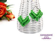 Diamant makramé fülbevaló – zöld – DAMAKRAMÉ