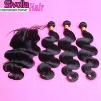 2015 big sale!6A Cheap Body Wave hair Bundles with Superb Lace Closure Brazilian Virgin Remy Human Hair 4X4 Free Middle three Part Stock