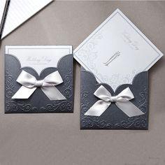 Blue Pocket Victorian Wedding Invitations - GA 1015   ItsInvitation