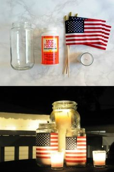 These American flag DIY lanterns are perfect for the 4th of July or Memorial Day! This project is super simple and inexpensive. Make these mason jar lanterns in just a few minutes. Fun for parties, weddings, summer BBQs, and more!