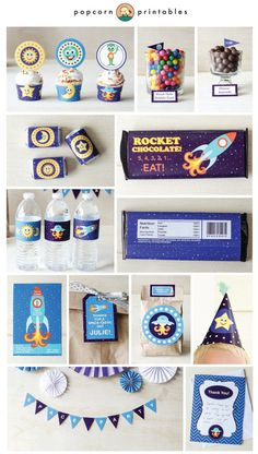 Outer Space Printable Party Package- Invitation- Birthday Collection- Fully Editable Text PDF- Personalize at home- Adobe Reader- 42 Pages