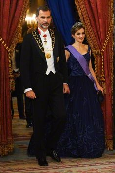 King Felipe VI of Spain and Queen Letizia of Spain attended a gala dinner at Palacio Real on July 7, 2015