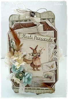 shabby easter card with vintage rabbit image. Handmade Tags, Greeting Cards Handmade, Easter Projects, Easter Crafts, Card Tags, Gift Tags, Paper Tags, Craft Stick Crafts, Craft Sticks