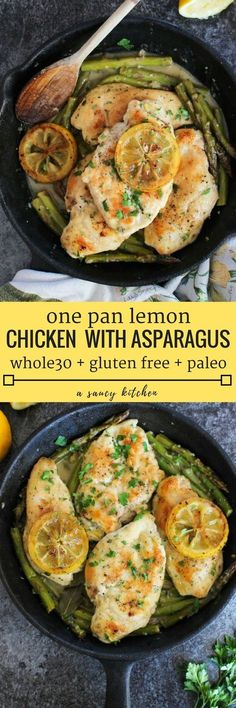 One Pan Lemon Chicken with braised asparagus in a simple lemon mustard sauce. Gluten Free Whole 30 Paleo Option