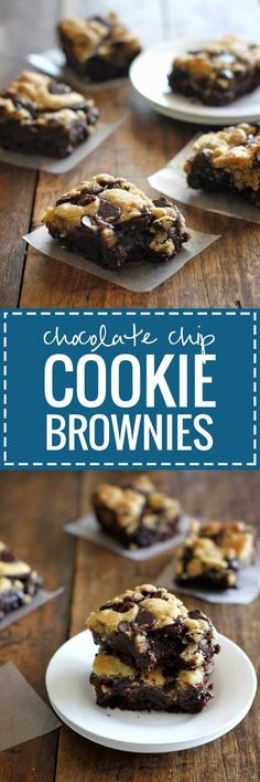 Chocolate Chip Cookie Brownies - These easy chocolate chip cookie brownies have my very favorite chocolate chip cookie dough baked into the top layer of decadent, fudgy brownies | pinchofyum.com