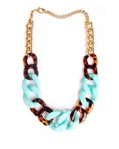 mint + tortoise chain necklace
