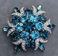 Fabulous Vintage Eisenberg Ice Blue Stone Brooch | eBay